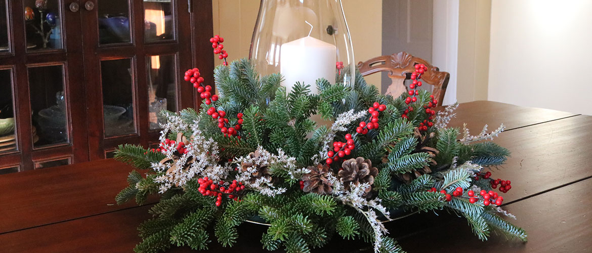 Holiday centerpiece on table