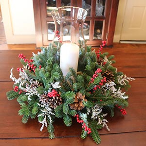 Hand-made holiday centerpieces